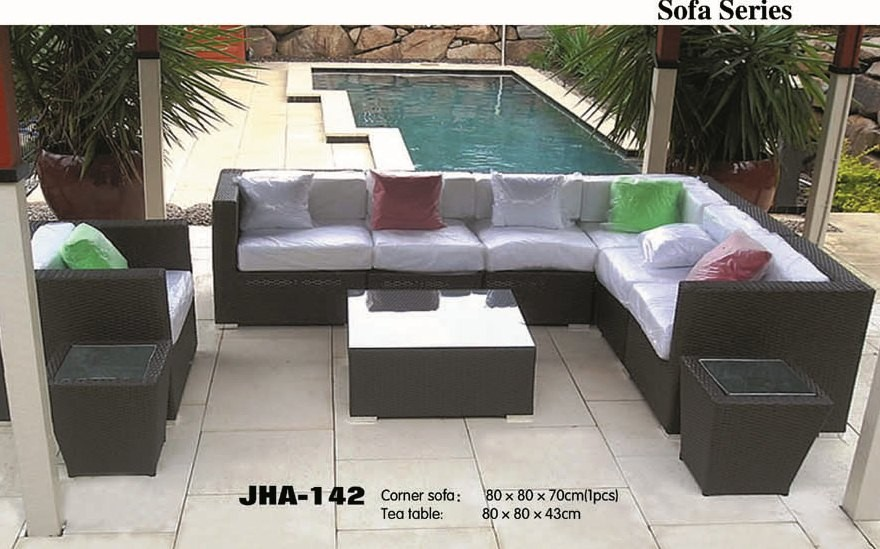 Sectional L Shape Wicker Sofa