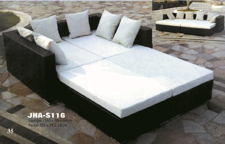 rattan lounger, wicker lounger bed, garden lounger