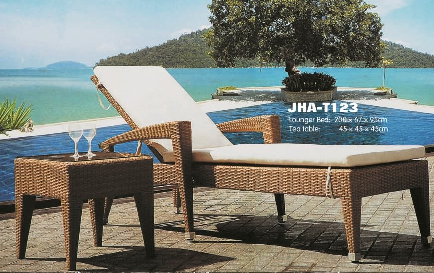 wicker rattan lounger bed, pool side lolunger