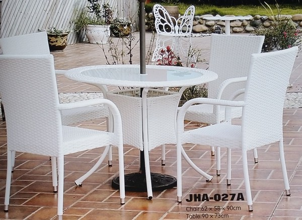 Outdoor White Wicker Patio Set