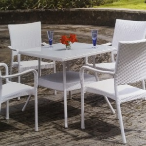 Classic White Rattan Dining Set