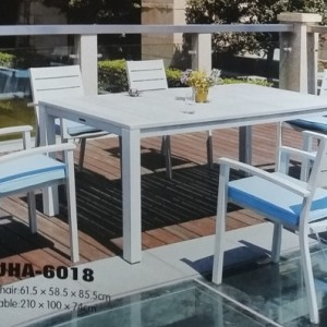 its made of classic white wash metal  dining set